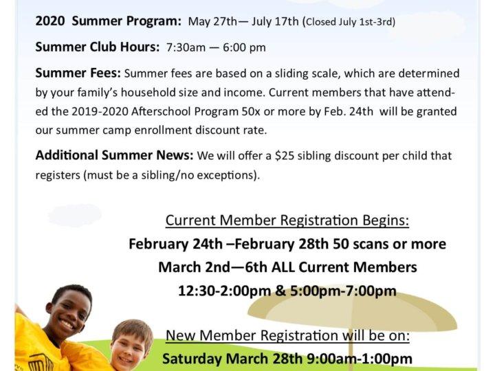 2020 Summer Camp Registration